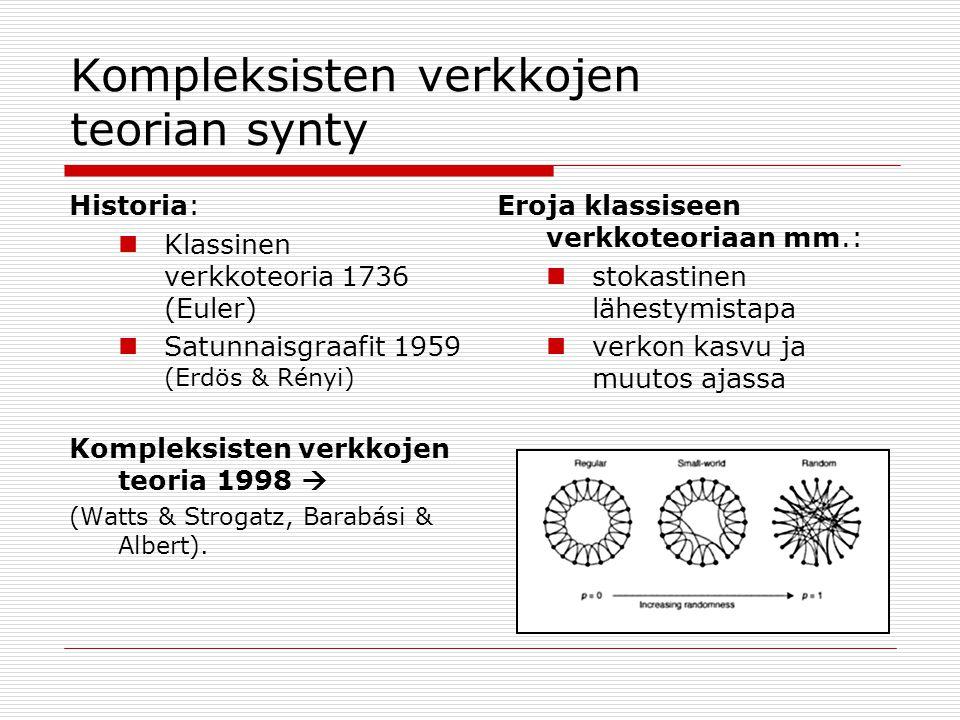 Kompleksisten verkkojen teorian synty Historia:  Klassinen verkkoteoria 1736 (Euler)  Satunnaisgraafit 1959 (Erdös & Rényi) Kompleksisten verkkojen teoria 1998  (Watts & Strogatz, Barabási & Albert).