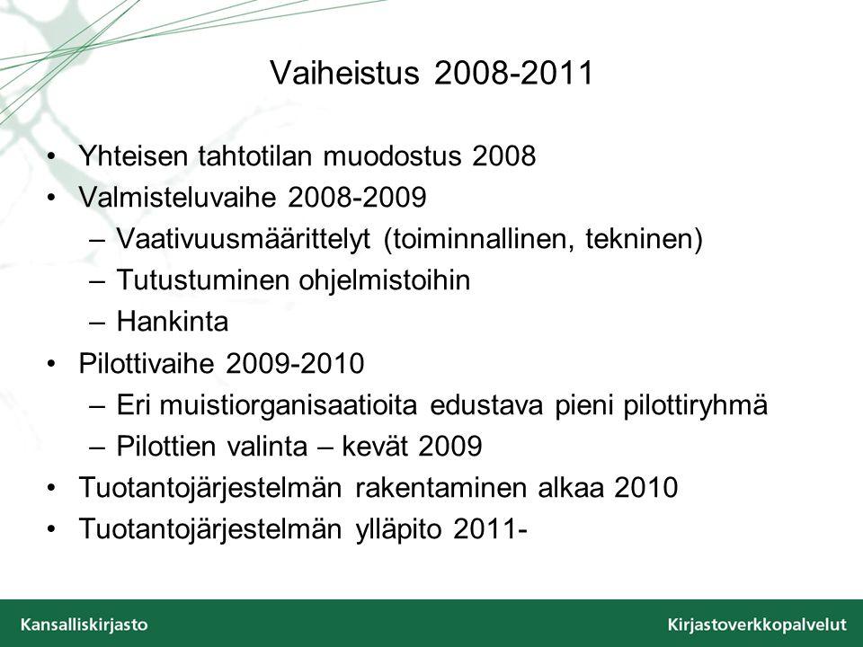Vaiheistus 2008-2011 •Yhteisen tahtotilan muodostus 2008 •Valmisteluvaihe 2008-2009 –Vaativuusmäärittelyt (toiminnallinen, tekninen) –Tutustuminen ohjelmistoihin –Hankinta •Pilottivaihe 2009-2010 –Eri muistiorganisaatioita edustava pieni pilottiryhmä –Pilottien valinta – kevät 2009 •Tuotantojärjestelmän rakentaminen alkaa 2010 •Tuotantojärjestelmän ylläpito 2011-