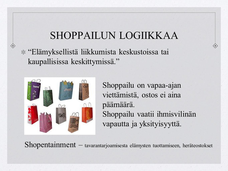 SHOPPAILUN LOGIIKKAA Elämyksellistä liikkumista keskustoissa tai kaupallisissa keskittymissä. Shoppailu on vapaa-ajan viettämistä, ostos ei aina päämäärä.