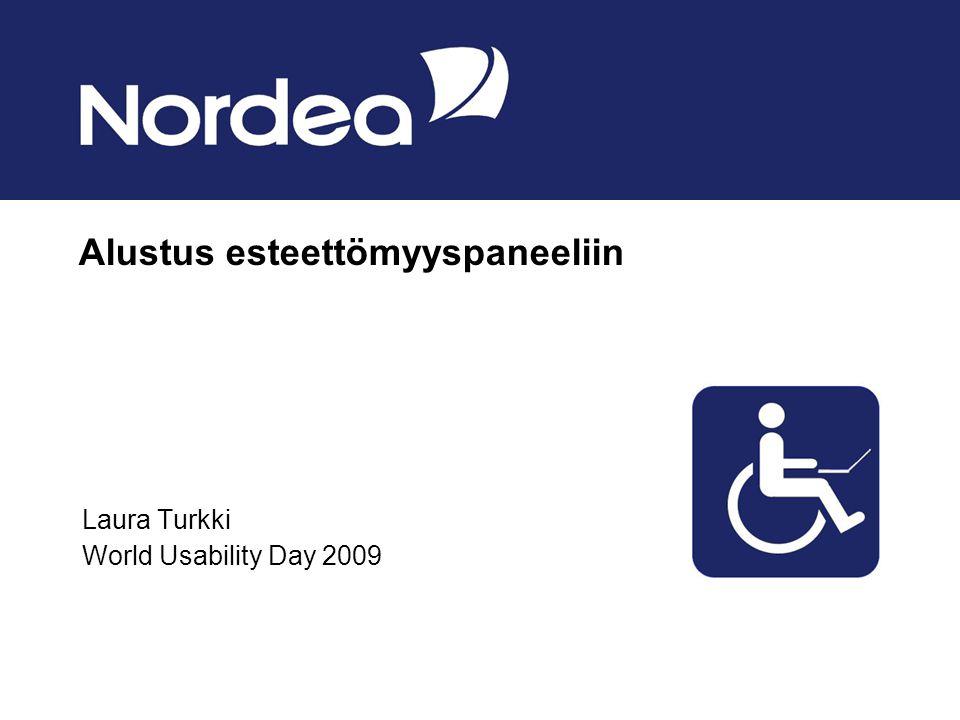 Alustus esteettömyyspaneeliin Laura Turkki World Usability Day 2009