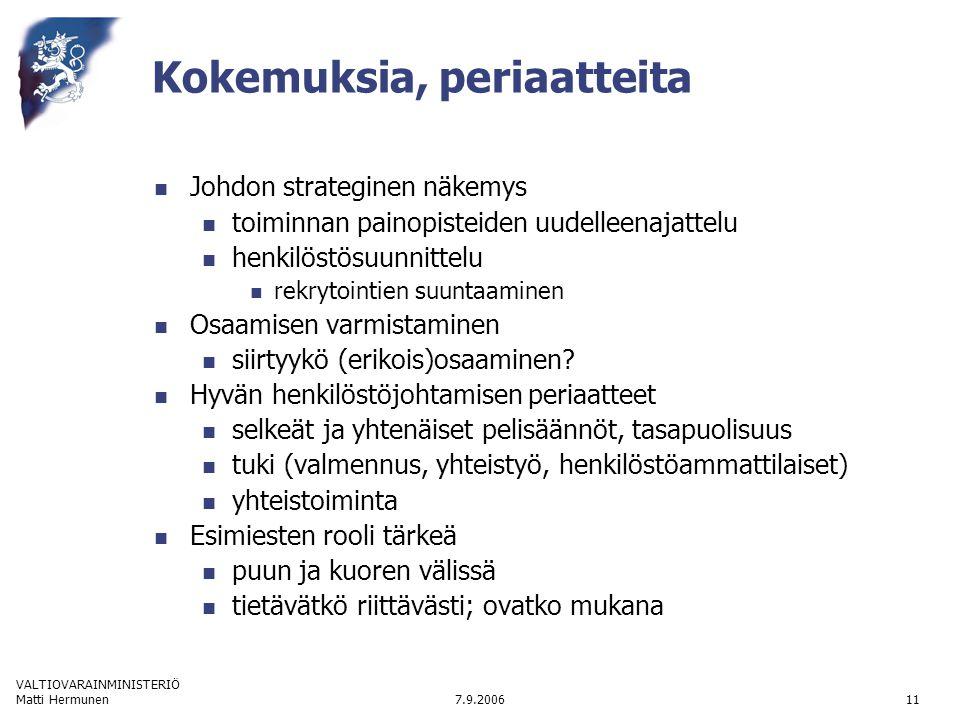 VALTIOVARAINMINISTERIÖ 7.9.2006Matti Hermunen11 Kokemuksia, periaatteita  Johdon strateginen näkemys  toiminnan painopisteiden uudelleenajattelu  henkilöstösuunnittelu  rekrytointien suuntaaminen  Osaamisen varmistaminen  siirtyykö (erikois)osaaminen.