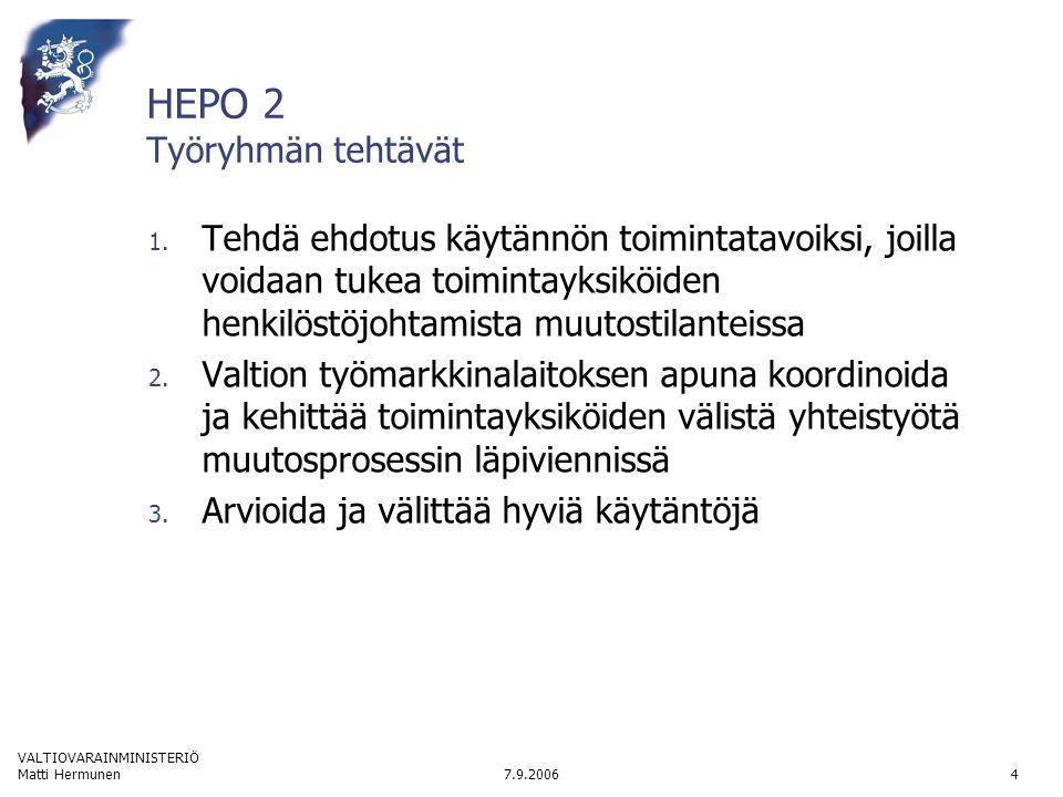 VALTIOVARAINMINISTERIÖ 7.9.2006Matti Hermunen4 HEPO 2 Työryhmän tehtävät 1.