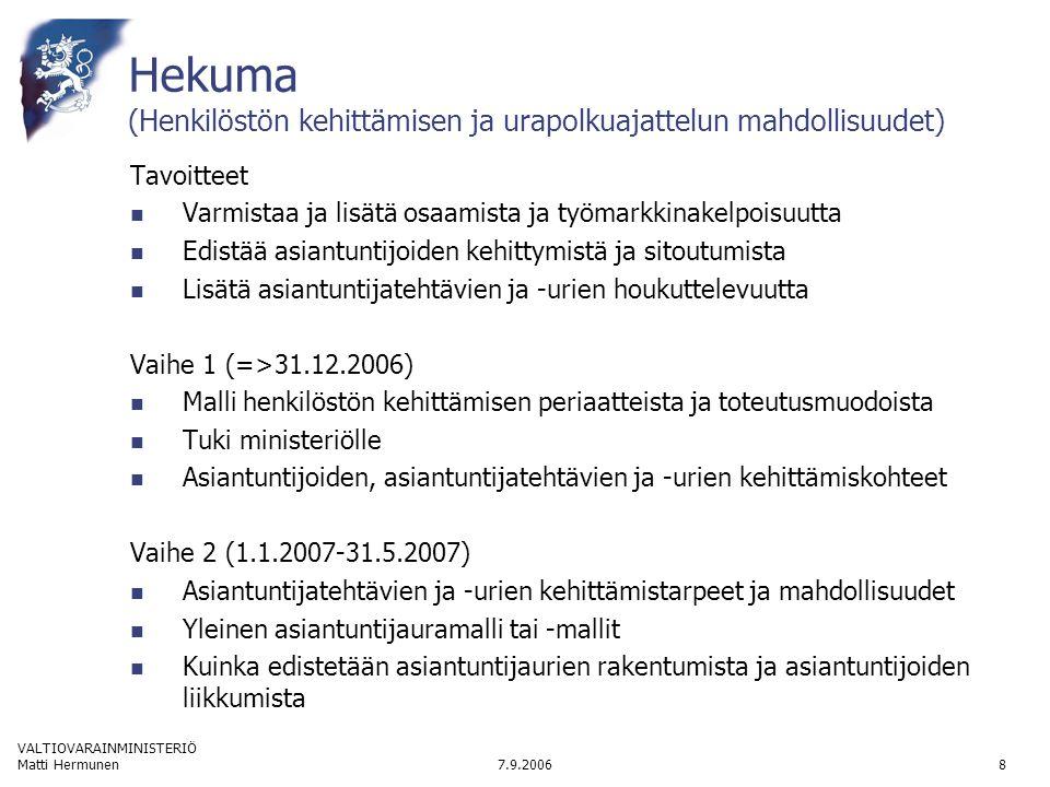 VALTIOVARAINMINISTERIÖ 7.9.2006Matti Hermunen8 Hekuma (Henkilöstön kehittämisen ja urapolkuajattelun mahdollisuudet) Tavoitteet  Varmistaa ja lisätä osaamista ja työmarkkinakelpoisuutta  Edistää asiantuntijoiden kehittymistä ja sitoutumista  Lisätä asiantuntijatehtävien ja -urien houkuttelevuutta Vaihe 1 (=>31.12.2006)  Malli henkilöstön kehittämisen periaatteista ja toteutusmuodoista  Tuki ministeriölle  Asiantuntijoiden, asiantuntijatehtävien ja -urien kehittämiskohteet Vaihe 2 (1.1.2007-31.5.2007)  Asiantuntijatehtävien ja -urien kehittämistarpeet ja mahdollisuudet  Yleinen asiantuntijauramalli tai -mallit  Kuinka edistetään asiantuntijaurien rakentumista ja asiantuntijoiden liikkumista