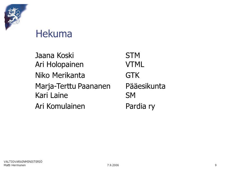 VALTIOVARAINMINISTERIÖ 7.9.2006Matti Hermunen9 Hekuma Jaana Koski STM Ari HolopainenVTML Niko MerikantaGTK Marja-Terttu PaananenPääesikunta Kari LaineSM Ari Komulainen Pardia ry
