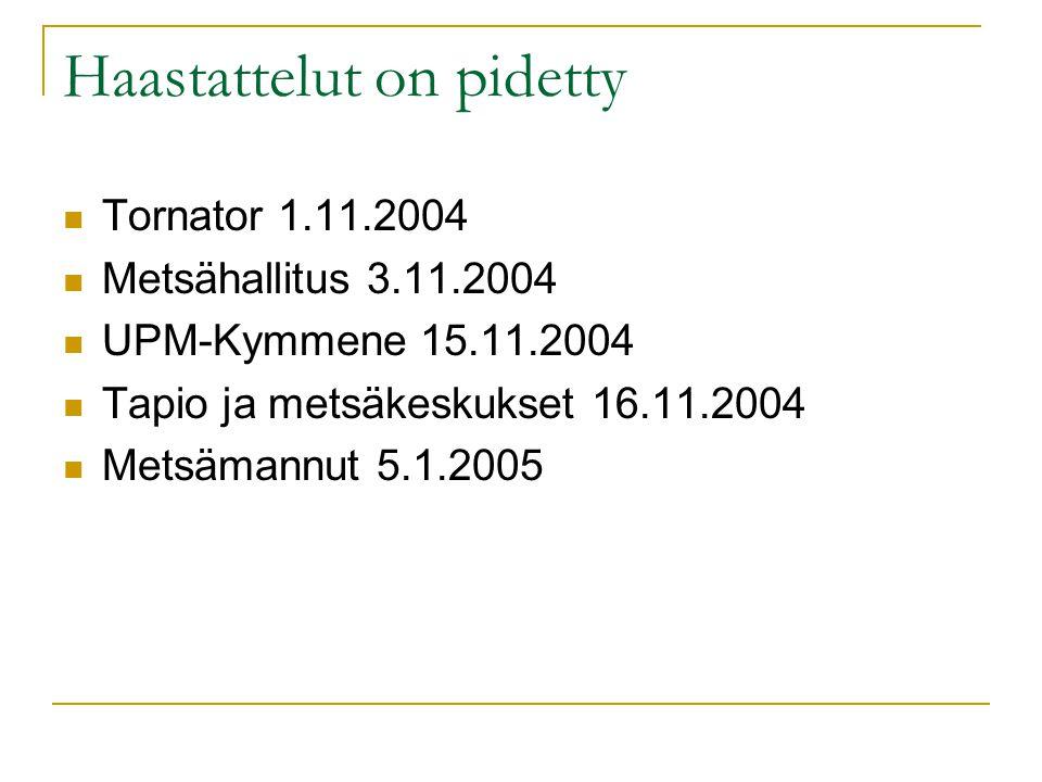 Haastattelut on pidetty  Tornator 1.11.2004  Metsähallitus 3.11.2004  UPM-Kymmene 15.11.2004  Tapio ja metsäkeskukset 16.11.2004  Metsämannut 5.1.2005