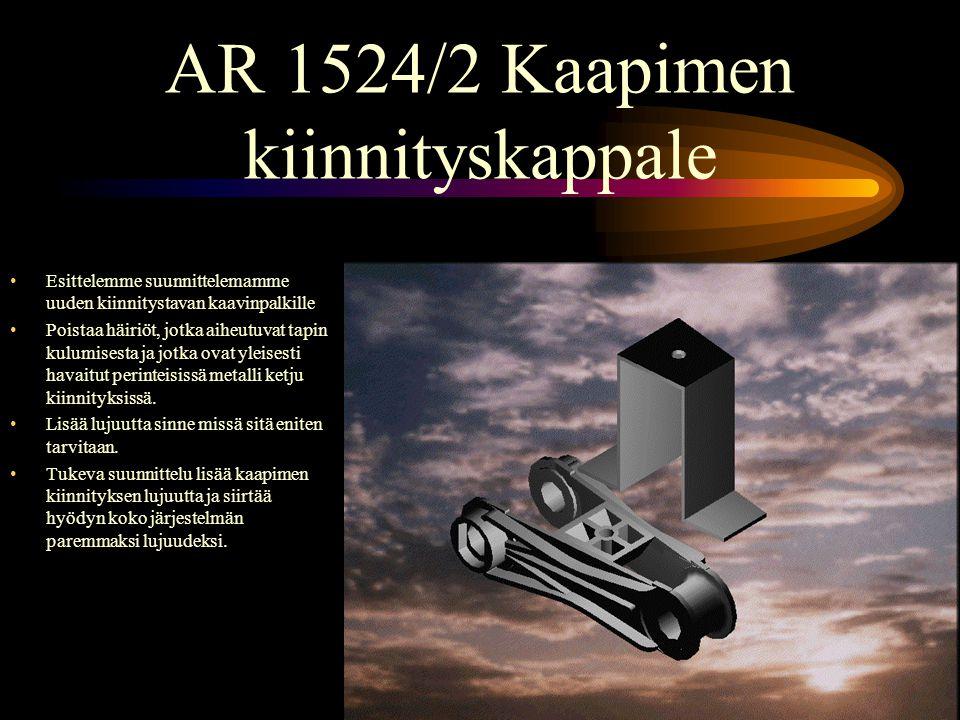 AR 1524/2 Kaapimen kiinnityskappale •Esittelemme suunnittelemamme uuden kiinnitystavan kaavinpalkille •Poistaa häiriöt, jotka aiheutuvat tapin kulumisesta ja jotka ovat yleisesti havaitut perinteisissä metalli ketju kiinnityksissä.