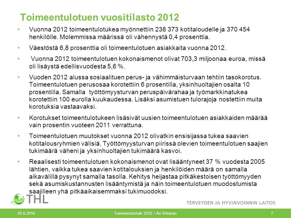 20.6.2014 Toimeentulotuki 2012 / Ari Virtanen Toimeentulotuen vuositilasto 2012 •Vuonna 2012 toimeentulotukea myönnettiin 238 373 kotitaloudelle ja 370 454 henkilölle.