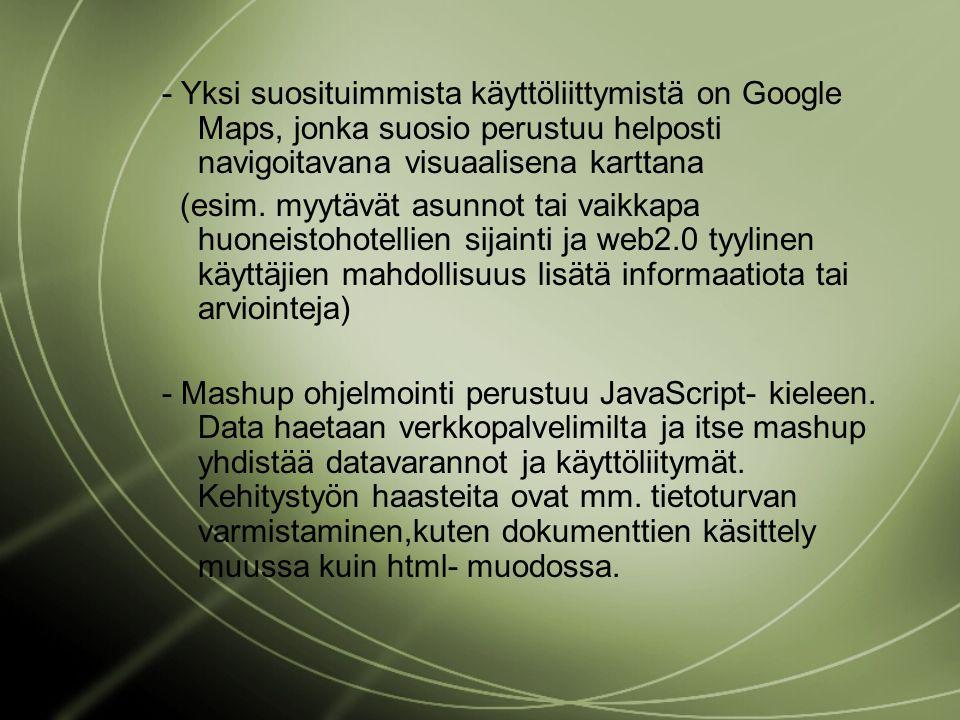 - Yksi suosituimmista käyttöliittymistä on Google Maps, jonka suosio perustuu helposti navigoitavana visuaalisena karttana (esim.