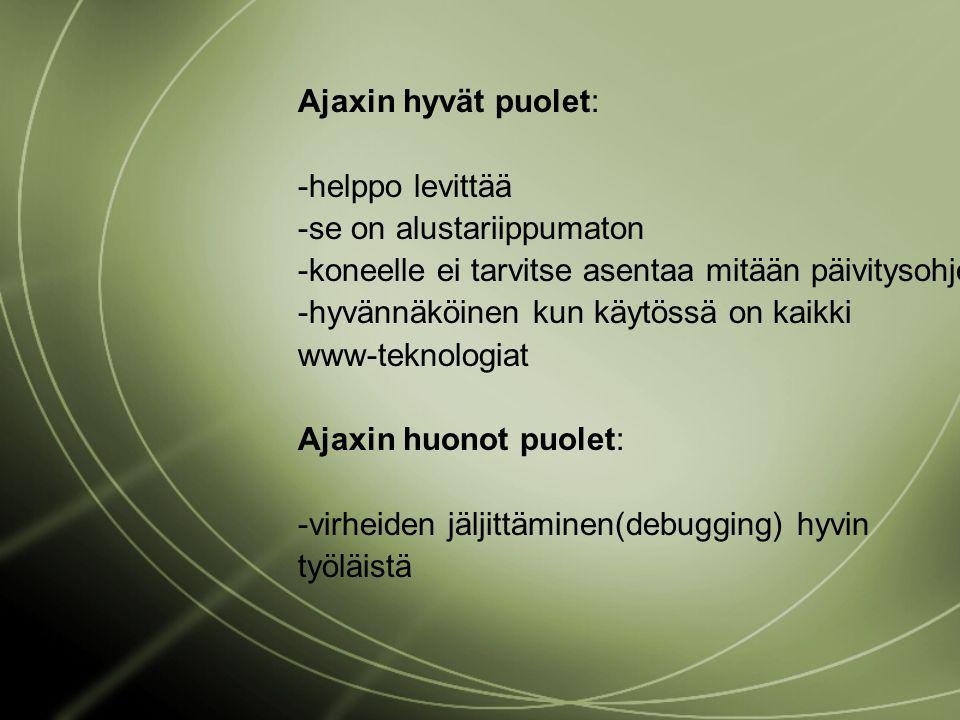 Ajaxin hyvät puolet: -helppo levittää -se on alustariippumaton -koneelle ei tarvitse asentaa mitään päivitysohjelmaa -hyvännäköinen kun käytössä on kaikki www-teknologiat Ajaxin huonot puolet: -virheiden jäljittäminen(debugging) hyvin työläistä
