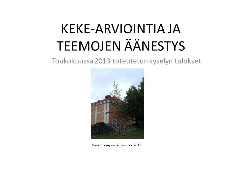 KEKE-ARVIOINTIA JA TEEMOJEN ÄÄNESTYS Toukokuussa 2013 toteutetun kyselyn tulokset Kuva: Kekepuu elokuussa 2013