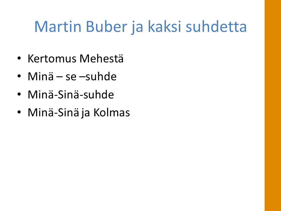 Martin Buber ja kaksi suhdetta • Kertomus Mehestä • Minä – se –suhde • Minä-Sinä-suhde • Minä-Sinä ja Kolmas