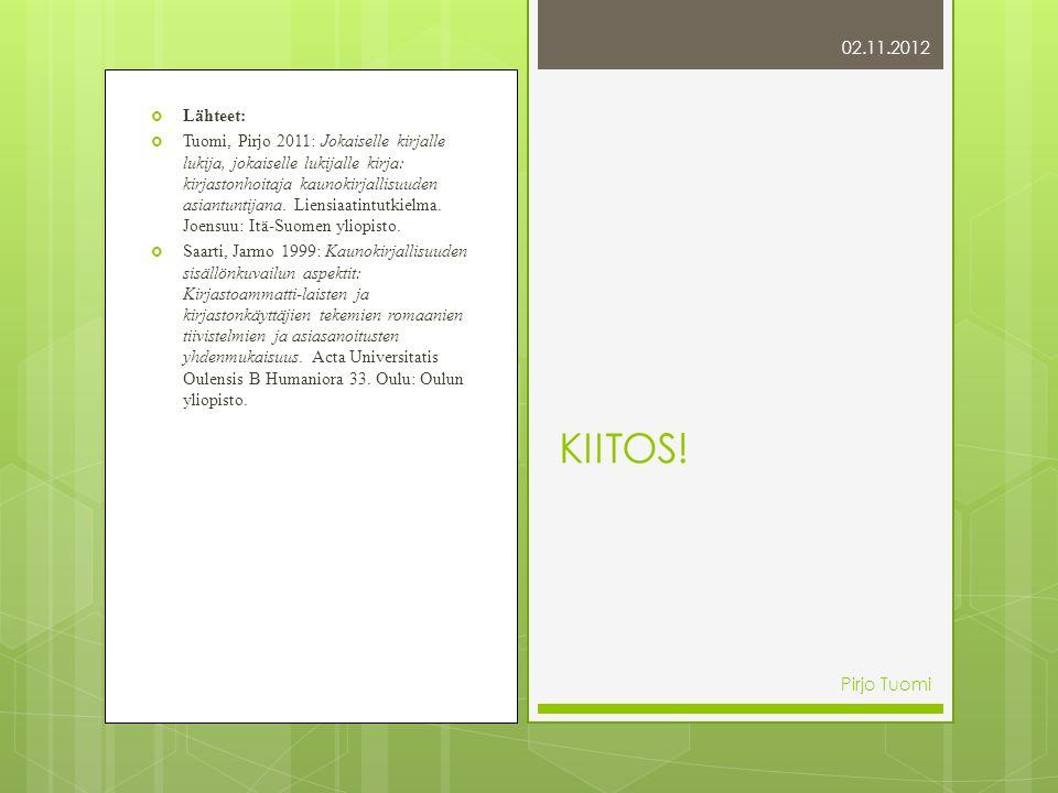 02.11.2012  Lähteet:  Tuomi, Pirjo 2011: Jokaiselle kirjalle lukija, jokaiselle lukijalle kirja: kirjastonhoitaja kaunokirjallisuuden asiantuntijana.
