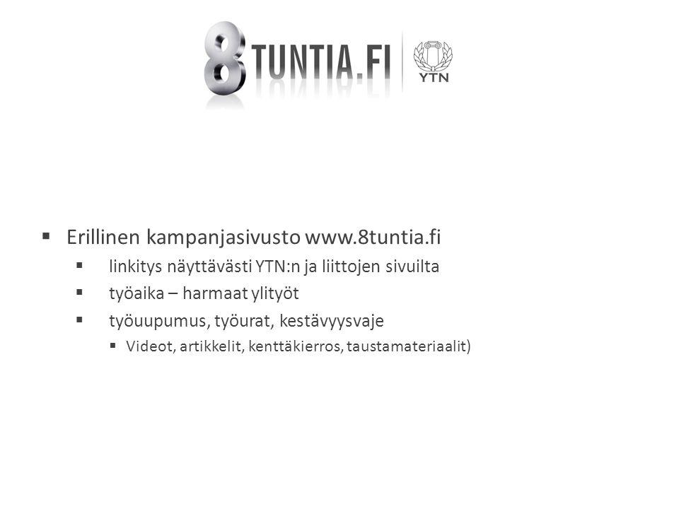  Erillinen kampanjasivusto www.8tuntia.fi  linkitys näyttävästi YTN:n ja liittojen sivuilta  työaika – harmaat ylityöt  työuupumus, työurat, kestävyysvaje  Videot, artikkelit, kenttäkierros, taustamateriaalit)