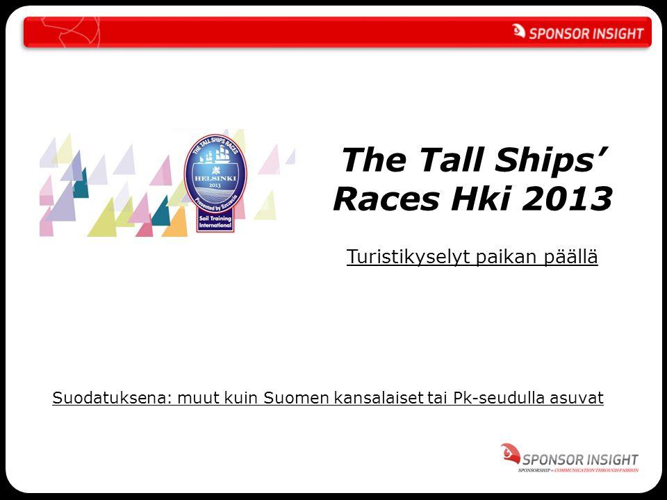 The Tall Ships' Races Hki 2013 Turistikyselyt paikan päällä Suodatuksena: muut kuin Suomen kansalaiset tai Pk-seudulla asuvat