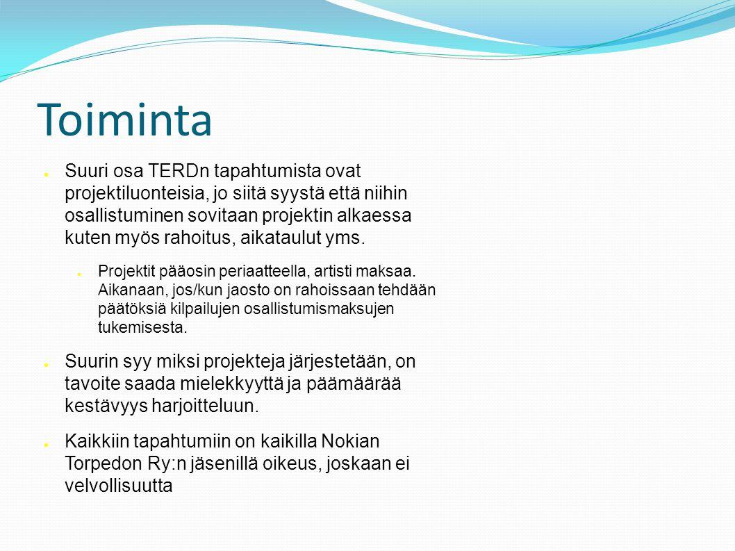 Toiminta ● Suuri osa TERDn tapahtumista ovat projektiluonteisia, jo siitä syystä että niihin osallistuminen sovitaan projektin alkaessa kuten myös rahoitus, aikataulut yms.