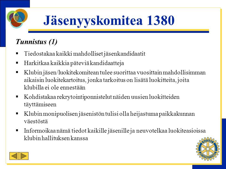 Jäsenyyskomitea 1380 Tunnistus (1)  Tiedostakaa kaikki mahdolliset jäsenkandidaatit  Harkitkaa kaikkia päteviä kandidaatteja  Klubin jäsen/luokitekomitean tulee suorittaa vuosittain mahdollisimman aikaisin luokitekartoitus, jonka tarkoitus on lisätä luokitteita, joita klubilla ei ole ennestään  Kohdistakaa rekrytointiponnistelut näiden uusien luokitteiden täyttämiseen  Klubin monipuolisen jäsenistön tulisi olla heijastuma paikkakunnan väestöstä  Informoikaa nämä tiedot kaikille jäsenille ja neuvotelkaa luokiteasioissa klubin hallituksen kanssa