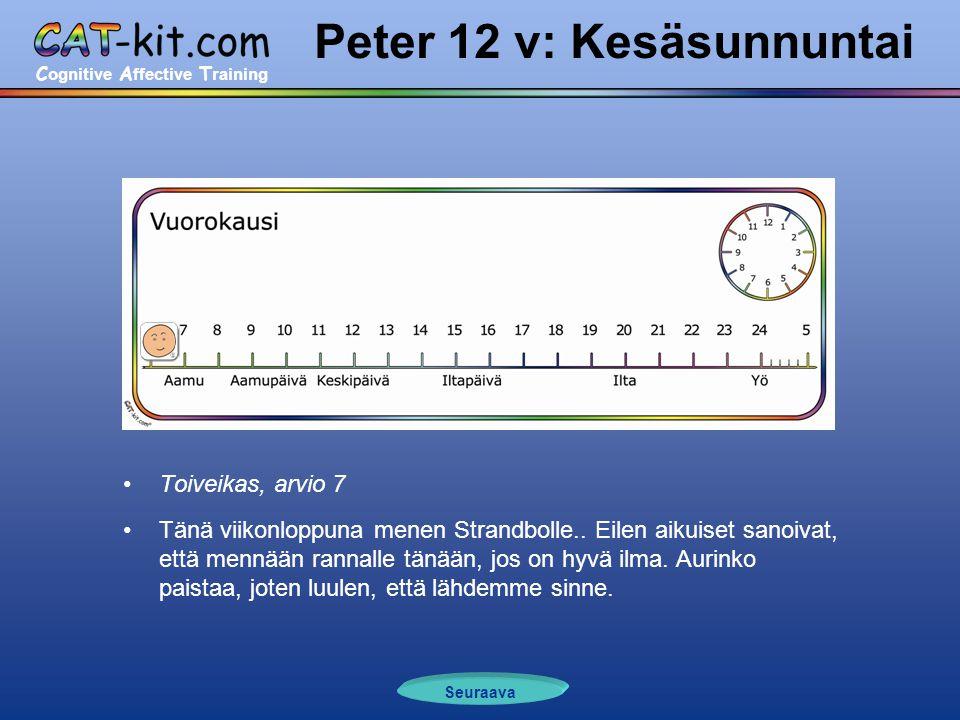C ognitive A ffective T raining Peter 12 v: Kesäsunnuntai •Toiveikas, arvio 7 •Tänä viikonloppuna menen Strandbolle..
