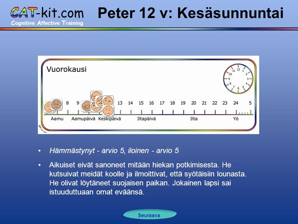 C ognitive A ffective T raining Peter 12 v: Kesäsunnuntai •Hämmästynyt - arvio 5, iloinen - arvio 5 •Aikuiset eivät sanoneet mitään hiekan potkimisesta.