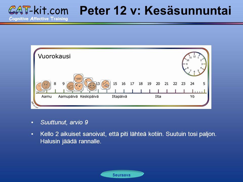 C ognitive A ffective T raining Peter 12 v: Kesäsunnuntai •Suuttunut, arvio 9 •Kello 2 aikuiset sanoivat, että piti lähteä kotiin.