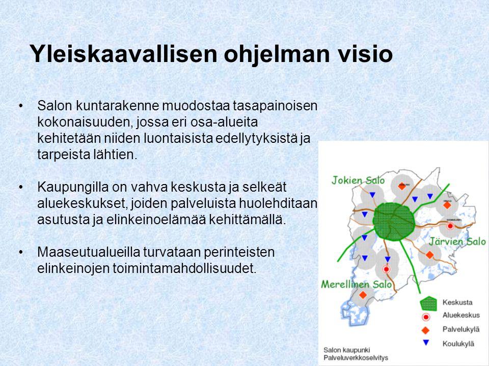 2 Yleiskaavallisen ohjelman visio •Salon kuntarakenne muodostaa tasapainoisen kokonaisuuden, jossa eri osa-alueita kehitetään niiden luontaisista edellytyksistä ja tarpeista lähtien.