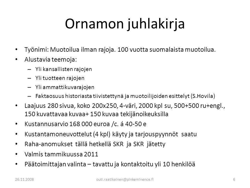 Ornamon juhlakirja • Työnimi: Muotoilua ilman rajoja.