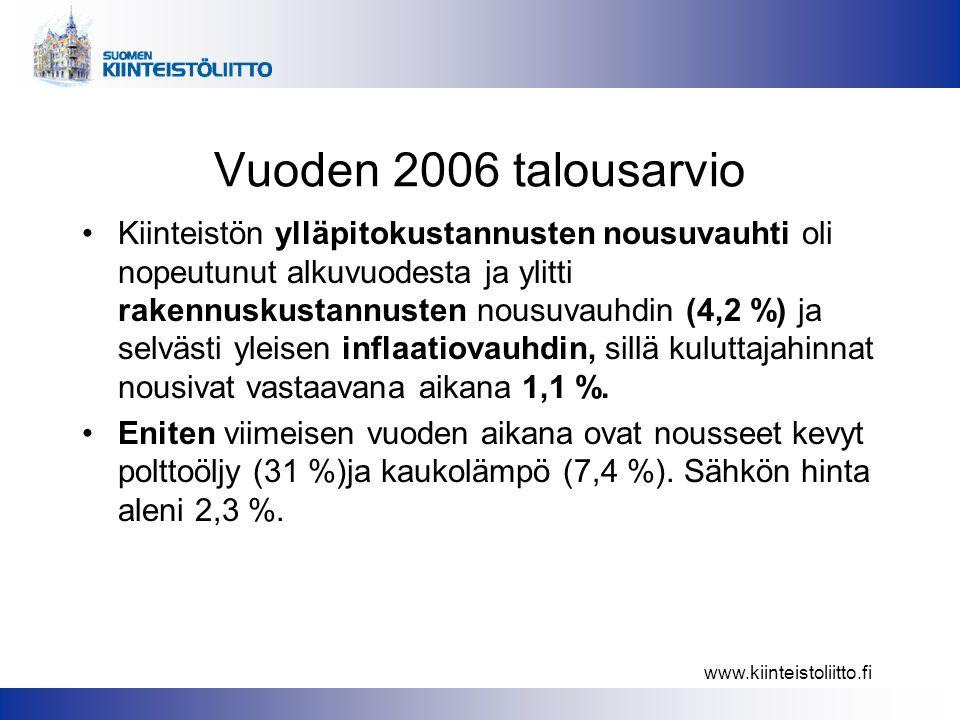 www.kiinteistoliitto.fi Vuoden 2006 talousarvio •Kiinteistön ylläpitokustannusten nousuvauhti oli nopeutunut alkuvuodesta ja ylitti rakennuskustannusten nousuvauhdin (4,2 %) ja selvästi yleisen inflaatiovauhdin, sillä kuluttajahinnat nousivat vastaavana aikana 1,1 %.