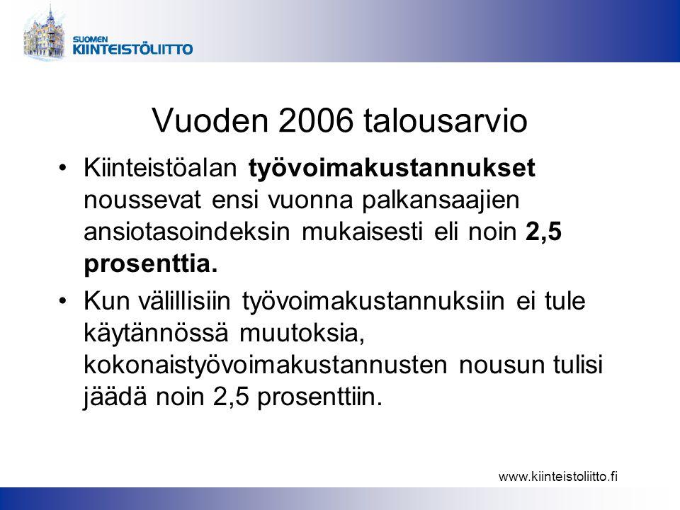 www.kiinteistoliitto.fi Vuoden 2006 talousarvio •Kiinteistöalan työvoimakustannukset noussevat ensi vuonna palkansaajien ansiotasoindeksin mukaisesti eli noin 2,5 prosenttia.