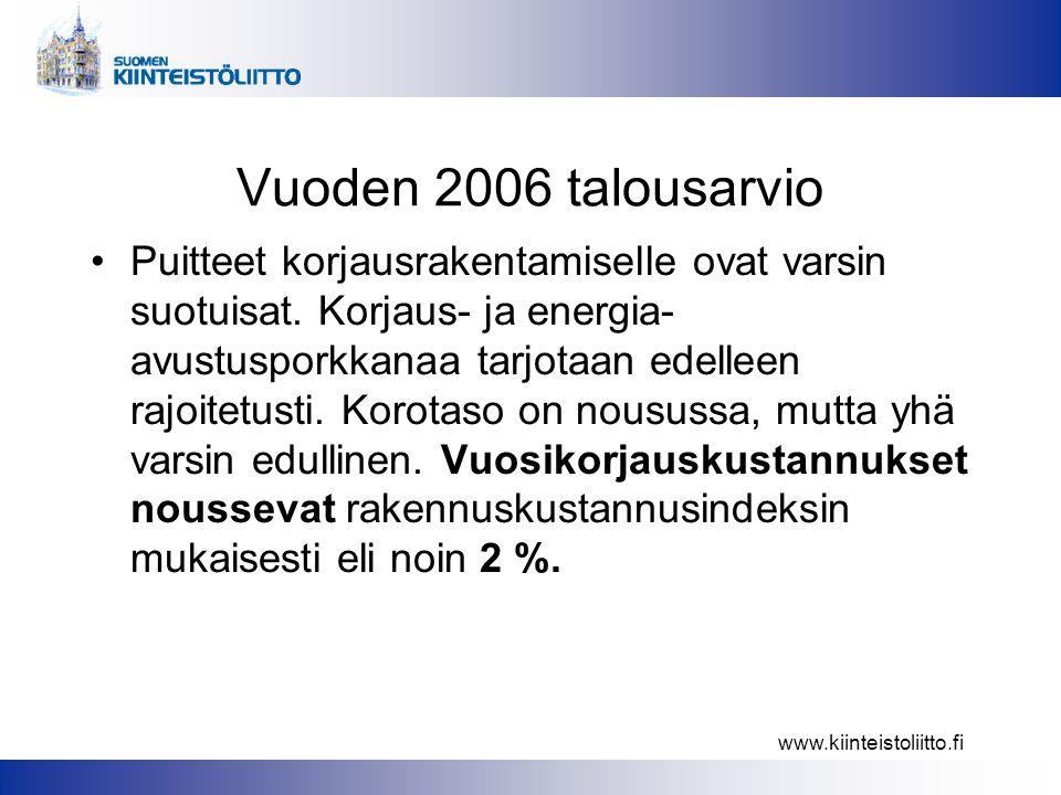 www.kiinteistoliitto.fi Vuoden 2006 talousarvio •Puitteet korjausrakentamiselle ovat varsin suotuisat.