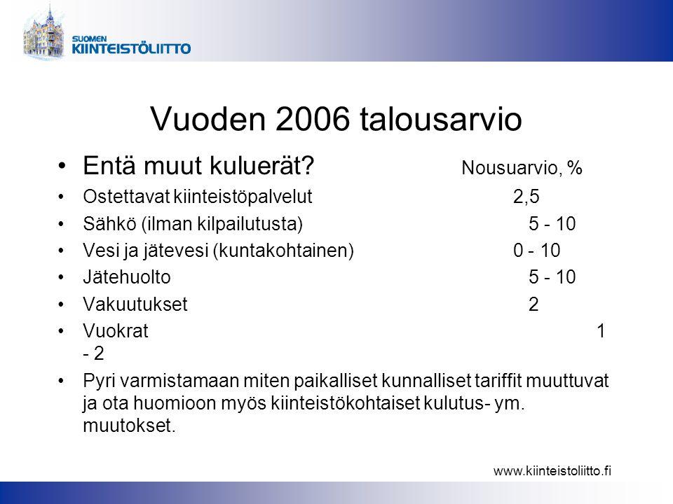 www.kiinteistoliitto.fi Vuoden 2006 talousarvio •Entä muut kuluerät.