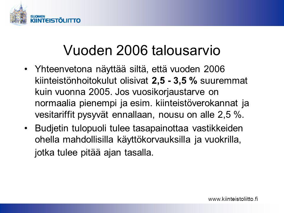 www.kiinteistoliitto.fi Vuoden 2006 talousarvio •Yhteenvetona näyttää siltä, että vuoden 2006 kiinteistönhoitokulut olisivat 2,5 - 3,5 % suuremmat kuin vuonna 2005.