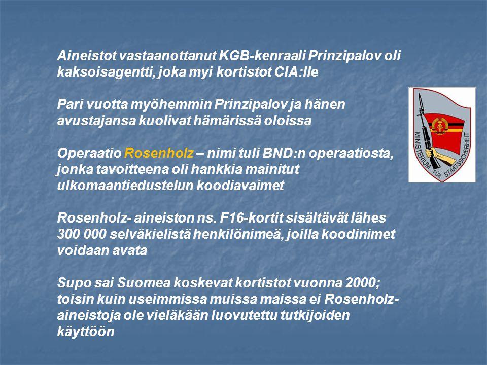 Aineistot vastaanottanut KGB-kenraali Prinzipalov oli kaksoisagentti, joka myi kortistot CIA:lle Pari vuotta myöhemmin Prinzipalov ja hänen avustajansa kuolivat hämärissä oloissa Operaatio Rosenholz – nimi tuli BND:n operaatiosta, jonka tavoitteena oli hankkia mainitut ulkomaantiedustelun koodiavaimet Rosenholz- aineiston ns.