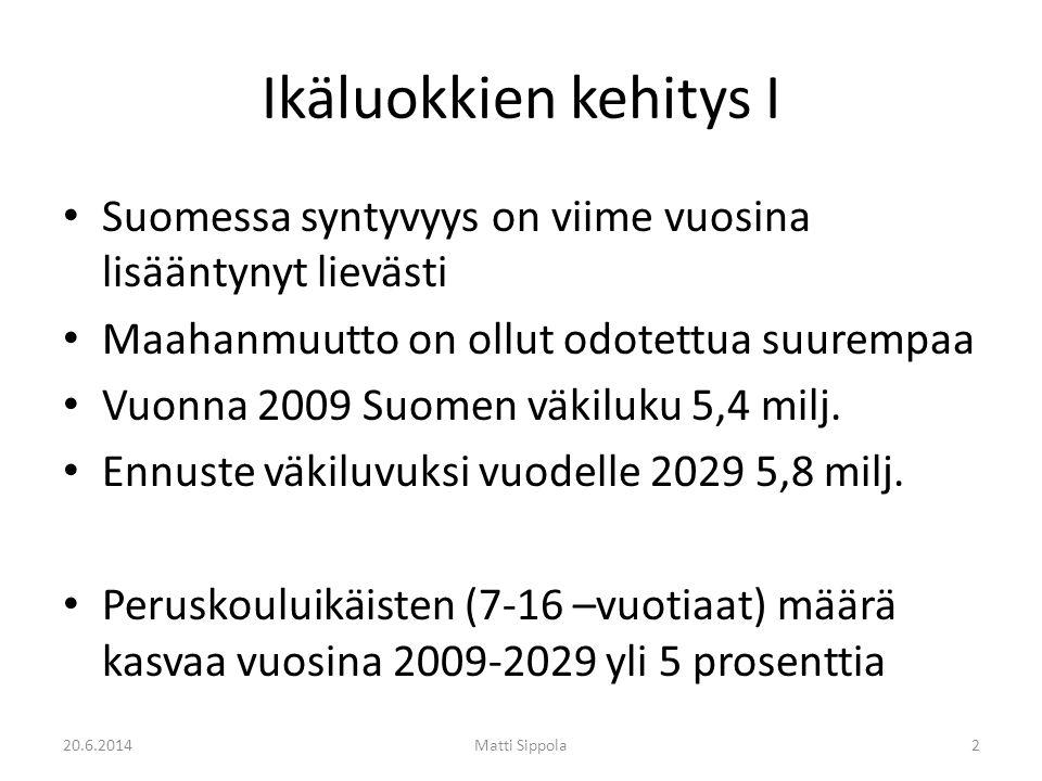Ikäluokkien kehitys I • Suomessa syntyvyys on viime vuosina lisääntynyt lievästi • Maahanmuutto on ollut odotettua suurempaa • Vuonna 2009 Suomen väkiluku 5,4 milj.