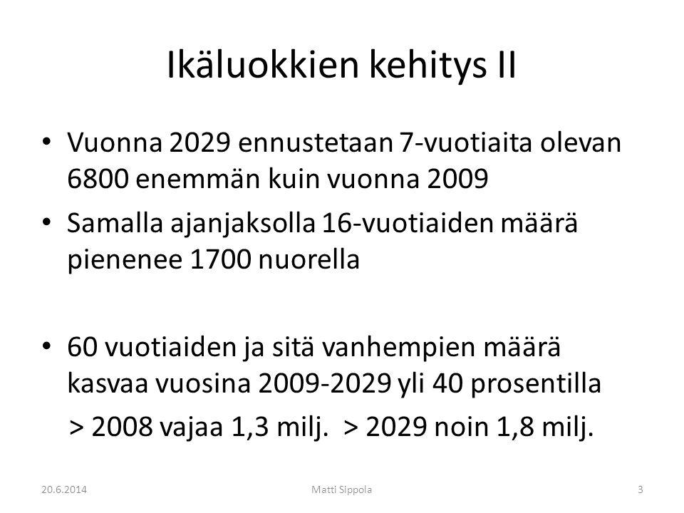 Ikäluokkien kehitys II • Vuonna 2029 ennustetaan 7-vuotiaita olevan 6800 enemmän kuin vuonna 2009 • Samalla ajanjaksolla 16-vuotiaiden määrä pienenee 1700 nuorella • 60 vuotiaiden ja sitä vanhempien määrä kasvaa vuosina 2009-2029 yli 40 prosentilla > 2008 vajaa 1,3 milj.