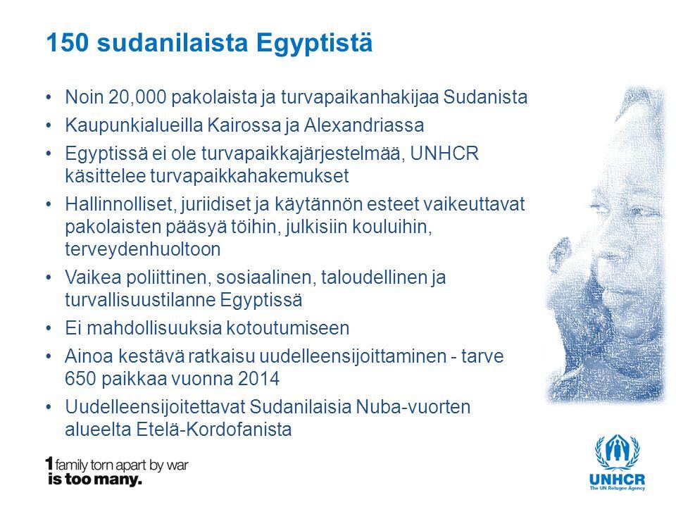 150 sudanilaista Egyptistä •Noin 20,000 pakolaista ja turvapaikanhakijaa Sudanista •Kaupunkialueilla Kairossa ja Alexandriassa •Egyptissä ei ole turvapaikkajärjestelmää, UNHCR käsittelee turvapaikkahakemukset •Hallinnolliset, juriidiset ja käytännön esteet vaikeuttavat pakolaisten pääsyä töihin, julkisiin kouluihin, terveydenhuoltoon •Vaikea poliittinen, sosiaalinen, taloudellinen ja turvallisuustilanne Egyptissä •Ei mahdollisuuksia kotoutumiseen •Ainoa kestävä ratkaisu uudelleensijoittaminen - tarve 650 paikkaa vuonna 2014 •Uudelleensijoitettavat Sudanilaisia Nuba-vuorten alueelta Etelä-Kordofanista