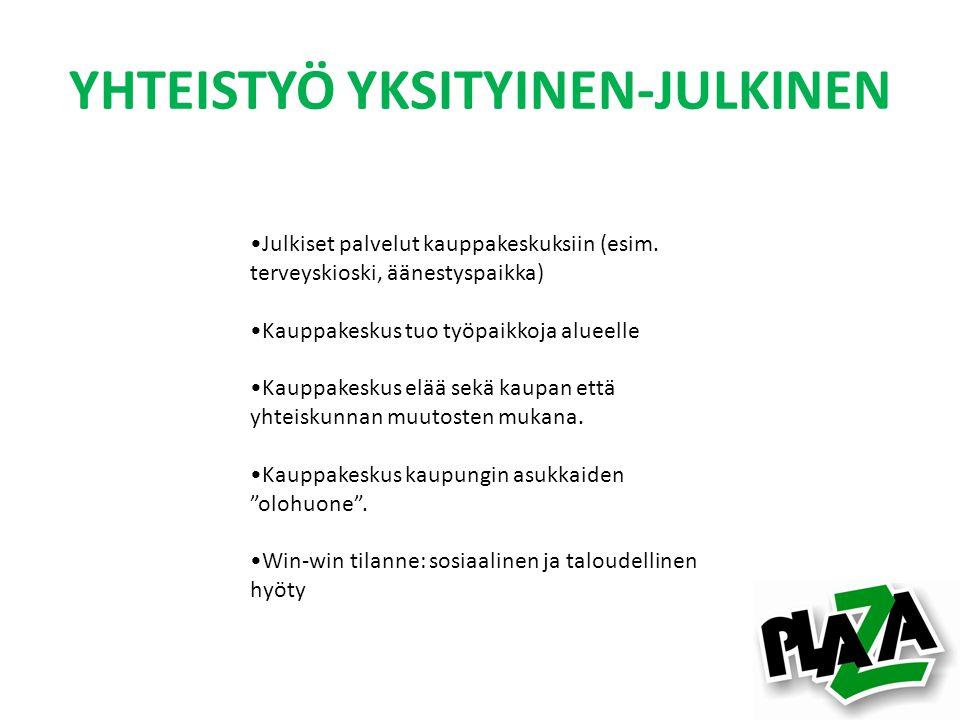 YHTEISTYÖ YKSITYINEN-JULKINEN •Julkiset palvelut kauppakeskuksiin (esim.