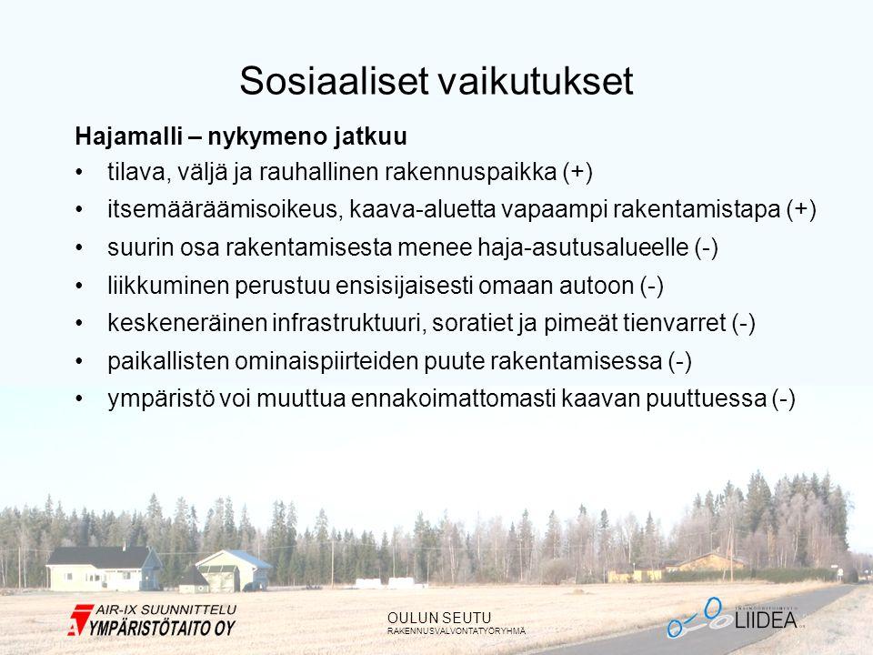 OULUN SEUTU RAKENNUSVALVONTATYÖRYHMÄ Sosiaaliset vaikutukset Hajamalli – nykymeno jatkuu •tilava, väljä ja rauhallinen rakennuspaikka (+) •itsemääräämisoikeus, kaava-aluetta vapaampi rakentamistapa (+) •suurin osa rakentamisesta menee haja-asutusalueelle (-) •liikkuminen perustuu ensisijaisesti omaan autoon (-) •keskeneräinen infrastruktuuri, soratiet ja pimeät tienvarret (-) •paikallisten ominaispiirteiden puute rakentamisessa (-) •ympäristö voi muuttua ennakoimattomasti kaavan puuttuessa (-)