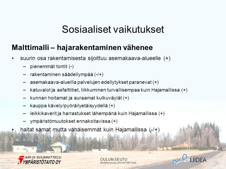 OULUN SEUTU RAKENNUSVALVONTATYÖRYHMÄ Sosiaaliset vaikutukset Malttimalli – hajarakentaminen vähenee •suurin osa rakentamisesta sijoittuu asemakaava-alueelle (+) –pienemmät tontit (-) –rakentaminen säädellympää (-/+) –asemakaava-alueilla palvelujen edellytykset paranevat (+) –katuvalot ja asfalttitiet, liikkuminen turvallisempaa kuin Hajamallissa (+) –kunnan hoitamat ja auraamat kulkuväylät (+) –kauppa kävely/pyöräilyetäisyydellä (+) –leikkikaverit ja harrastukset lähempänä kuin Hajamallissa (+) –ympäristömuutokset ennakoitavissa (+) •haitat samat mutta vähäisemmät kuin Hajamallissa (-/+)