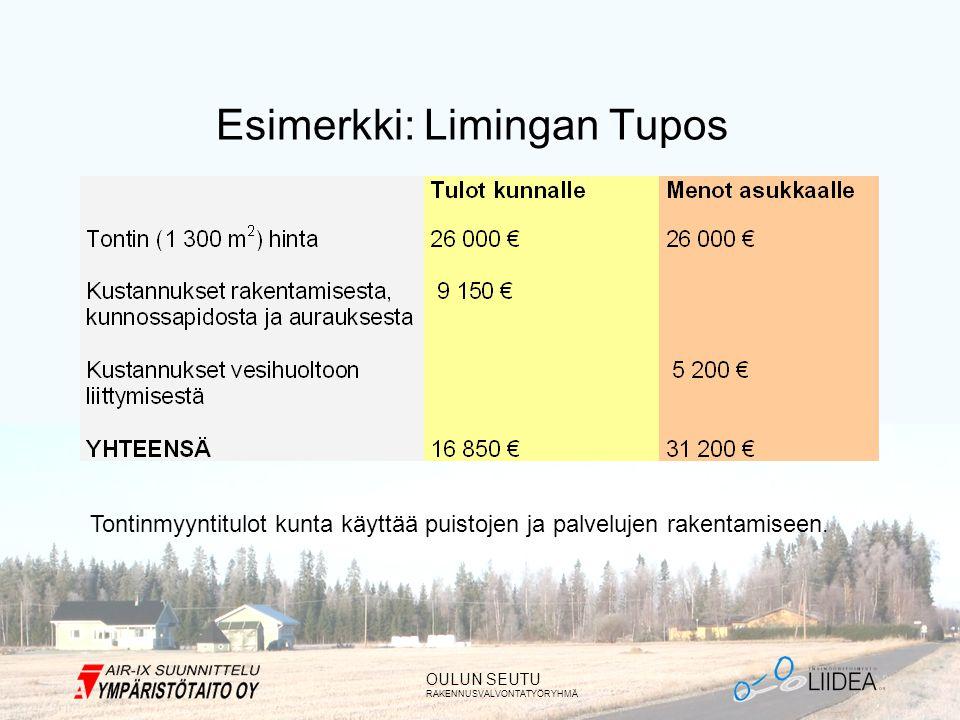 OULUN SEUTU RAKENNUSVALVONTATYÖRYHMÄ Esimerkki: Limingan Tupos Tontinmyyntitulot kunta käyttää puistojen ja palvelujen rakentamiseen.