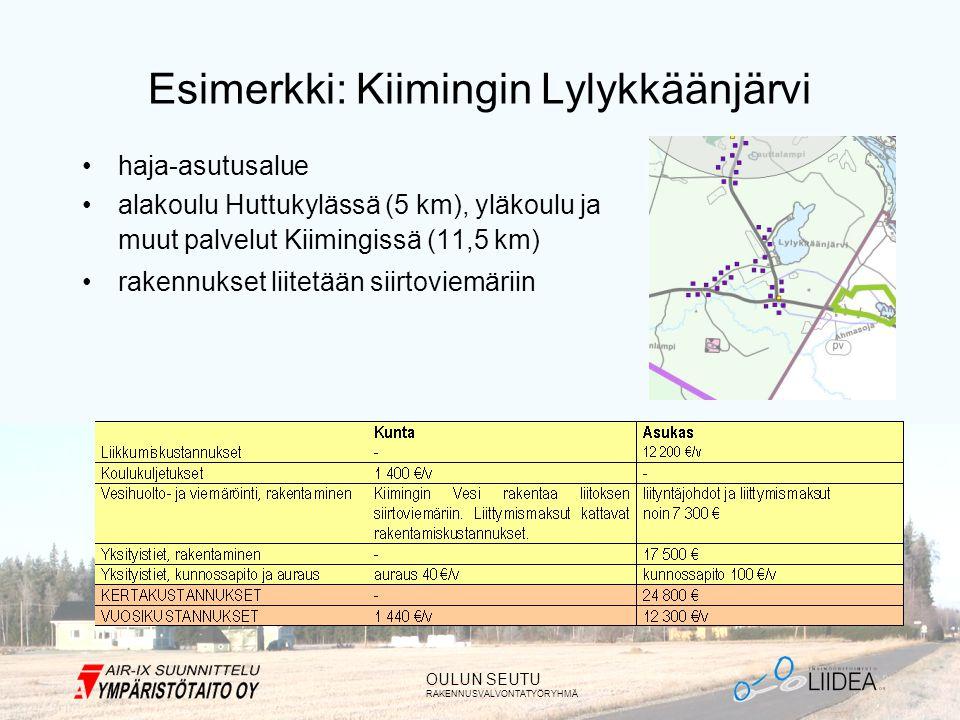 OULUN SEUTU RAKENNUSVALVONTATYÖRYHMÄ Esimerkki: Kiimingin Lylykkäänjärvi •haja-asutusalue •alakoulu Huttukylässä (5 km), yläkoulu ja muut palvelut Kiimingissä (11,5 km) •rakennukset liitetään siirtoviemäriin