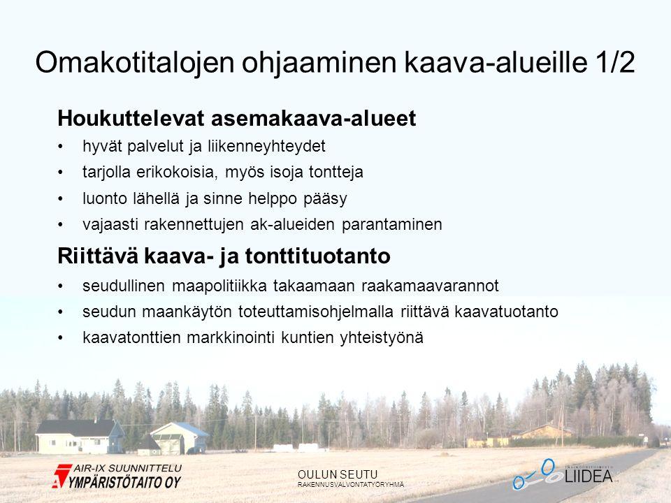 OULUN SEUTU RAKENNUSVALVONTATYÖRYHMÄ Omakotitalojen ohjaaminen kaava-alueille 1/2 Houkuttelevat asemakaava-alueet •hyvät palvelut ja liikenneyhteydet •tarjolla erikokoisia, myös isoja tontteja •luonto lähellä ja sinne helppo pääsy •vajaasti rakennettujen ak-alueiden parantaminen Riittävä kaava- ja tonttituotanto •seudullinen maapolitiikka takaamaan raakamaavarannot •seudun maankäytön toteuttamisohjelmalla riittävä kaavatuotanto •kaavatonttien markkinointi kuntien yhteistyönä
