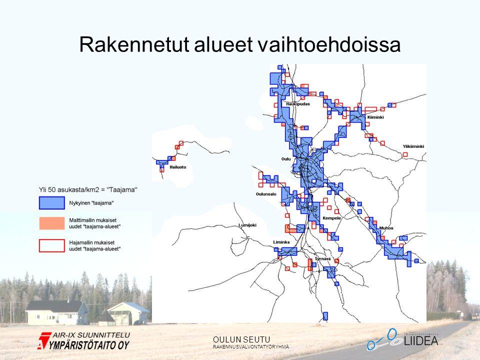 OULUN SEUTU RAKENNUSVALVONTATYÖRYHMÄ Rakennetut alueet vaihtoehdoissa