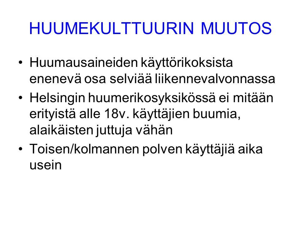 HUUMEKULTTUURIN MUUTOS •Huumausaineiden käyttörikoksista enenevä osa selviää liikennevalvonnassa •Helsingin huumerikosyksikössä ei mitään erityistä alle 18v.