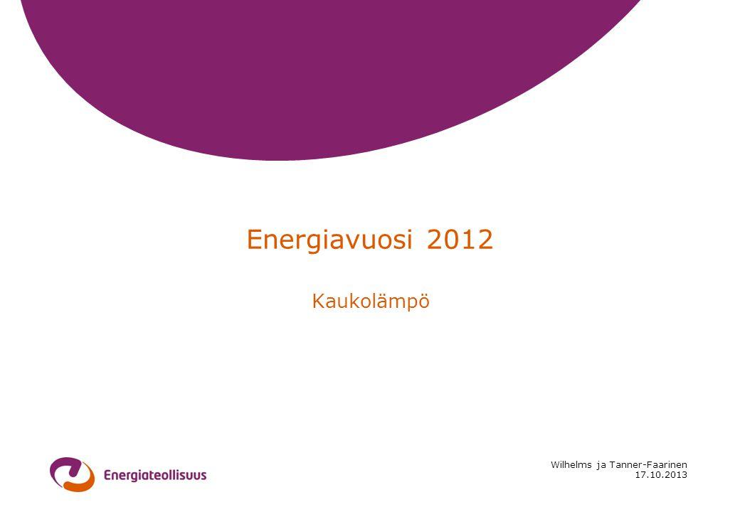 17.10.2013 Wilhelms ja Tanner-Faarinen Energiavuosi 2012 Kaukolämpö