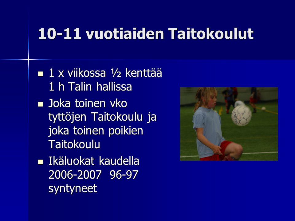 10-11 vuotiaiden Taitokoulut  1 x viikossa ½ kenttää 1 h Talin hallissa  Joka toinen vko tyttöjen Taitokoulu ja joka toinen poikien Taitokoulu  Ikäluokat kaudella 2006-2007 96-97 syntyneet