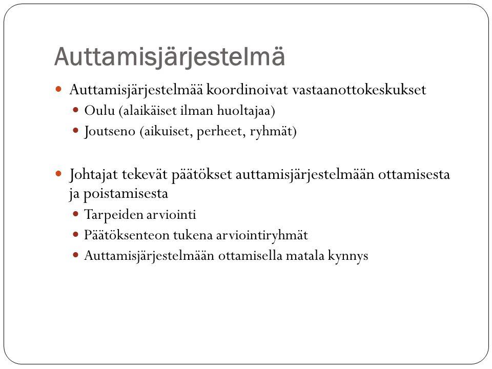 Auttamisjärjestelmä  Auttamisjärjestelmää koordinoivat vastaanottokeskukset  Oulu (alaikäiset ilman huoltajaa)  Joutseno (aikuiset, perheet, ryhmät)  Johtajat tekevät päätökset auttamisjärjestelmään ottamisesta ja poistamisesta  Tarpeiden arviointi  Päätöksenteon tukena arviointiryhmät  Auttamisjärjestelmään ottamisella matala kynnys