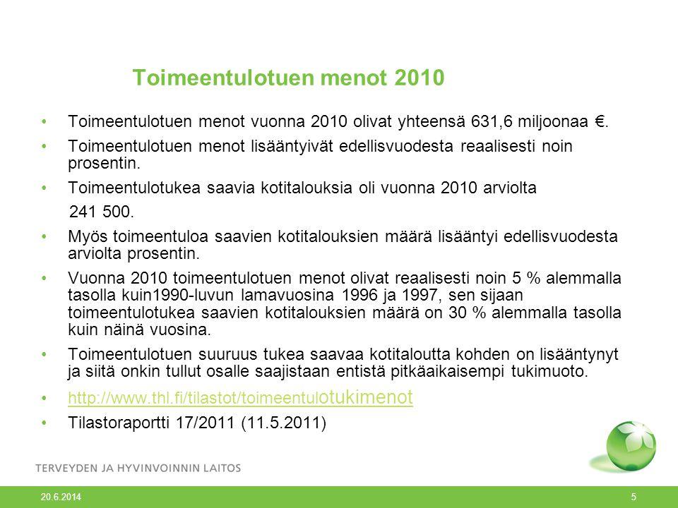 20.6.2014 5 Toimeentulotuen menot 2010 •Toimeentulotuen menot vuonna 2010 olivat yhteensä 631,6 miljoonaa €.
