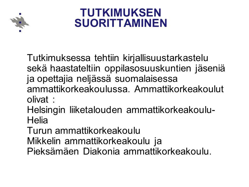 TUTKIMUKSEN SUORITTAMINEN Tutkimuksessa tehtiin kirjallisuustarkastelu sekä haastateltiin oppilasosuuskuntien jäseniä ja opettajia neljässä suomalaisessa ammattikorkeakoulussa.