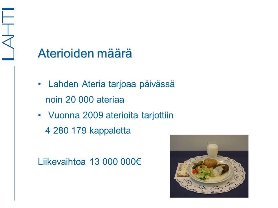 Aterioiden määrä •Lahden Ateria tarjoaa päivässä noin 20 000 ateriaa •Vuonna 2009 aterioita tarjottiin 4 280 179 kappaletta Liikevaihtoa 13 000 000€