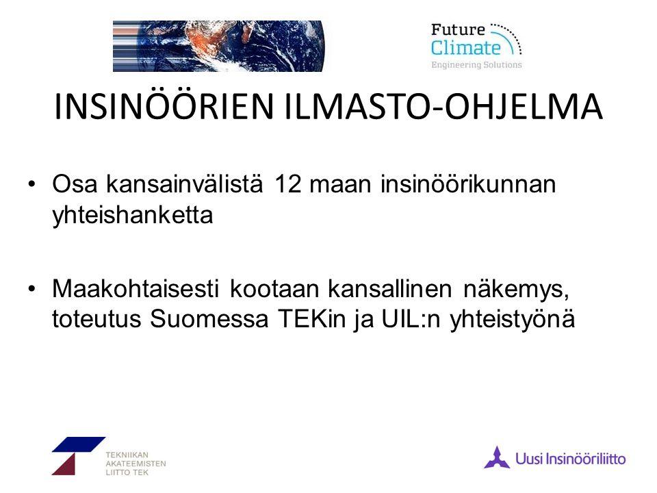 INSINÖÖRIEN ILMASTO-OHJELMA •Osa kansainvälistä 12 maan insinöörikunnan yhteishanketta •Maakohtaisesti kootaan kansallinen näkemys, toteutus Suomessa TEKin ja UIL:n yhteistyönä