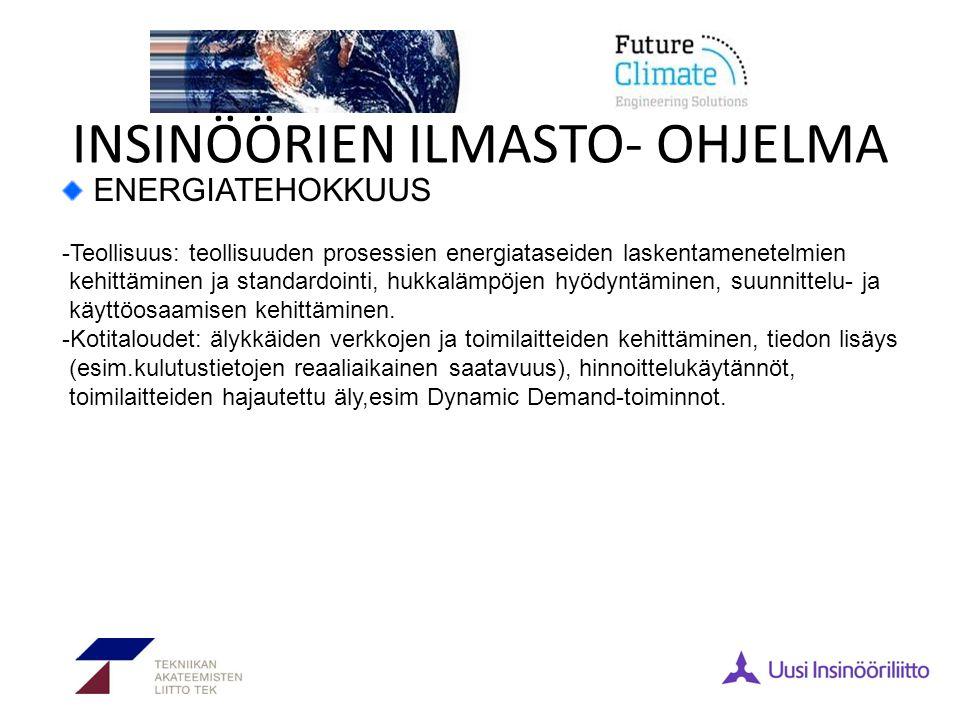 INSINÖÖRIEN ILMASTO- OHJELMA ENERGIATEHOKKUUS -Teollisuus: teollisuuden prosessien energiataseiden laskentamenetelmien kehittäminen ja standardointi, hukkalämpöjen hyödyntäminen, suunnittelu- ja käyttöosaamisen kehittäminen.